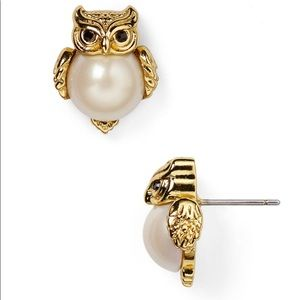 Kate Spade Into the Woods Pearl Owl Studs